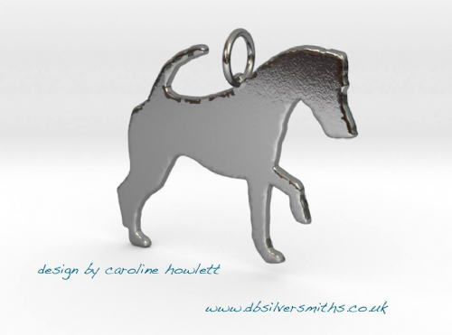 Smooth Fox Terrier hunting dog silhouette pendant sterling silver handmade by saw piercing Caroline Howlett Design
